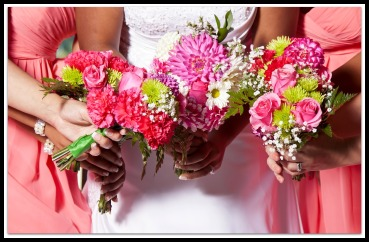 Woman holding beautiful azure wedding flowers bouquets