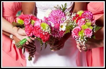 Woman holding beautiful azure wedding flowers bouquets